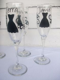 PERSONALIZED To MATCH Your DRESSES Hand Painted Bridesmaid Wine - Custom vinyl stickers for wine glasses   for business