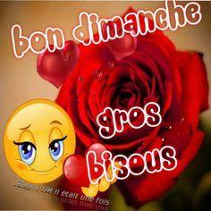 Bon dimanche, gros bisous #dimanche smiley bisou rose fleur