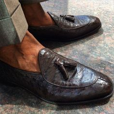 "Handmade to Order Tanzanian Ostrich ""Old Money"" Belgian Loafers."