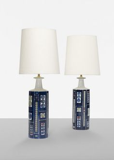 Anonymous; Glazed Stoneware Table Lamps by Fog & Mørup, c1960.