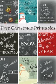 nine free holiday printables-Christmas wall art was never so easy. Just pop these printables into frames and you're ready to go! farmgirlreformed.com