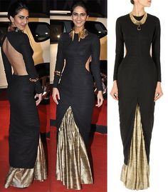 GET THIS LOOK: Vaani Kapoor looks fashion forward in this black cut out kurta with skirt by NIKHIL THAMPI.  Shop the designer now at: http://www.perniaspopupshop.com/designers-1/nikhil-thampi