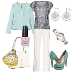 Aqua and White, created by tajarl on Polyvore