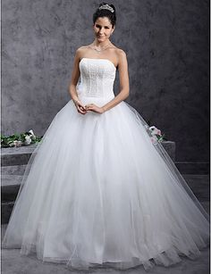 Ball Gown Strapless Natural Floor-length Sleeveless Zipper Tulle Glamorous Dramatic Hall Wedding Dress #168895(More color option)