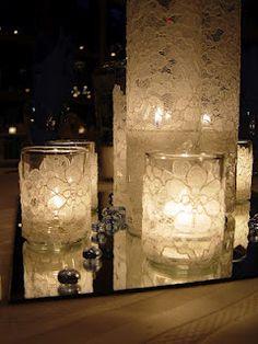 vintage wedding votives lace