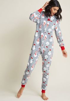 fba0dba1a7 Cozy Chill Out One-Piece Pajamas in Snowman Soiree Pajama Party Outfit