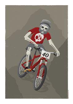 Death Biker - illustration. A3 Commission for a skull obsessed mountain biker. belletragedie.com