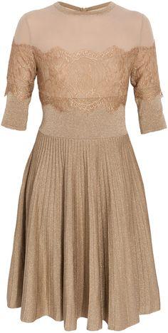 Beige Three-Quarter Sleeved Dress