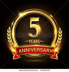 Celebrating 5 years anniversary logo with golden ring and red ribbon. - stock vector