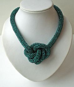 Knotted Bead Crochet necklace: