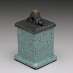 Green Ceramic handmade box, Ceramic box, raku , trinket box. $30.00, via Etsy.