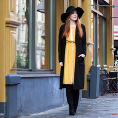 Black and yellow outfit floppy hat vintage dress