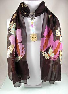 Bijou de foulard sur bélière avec foulard, os, quartz, jade et métal argenté - 280115-BJ-003 : Echarpe, foulard, cravate par si-mes-perles-etaient-contees