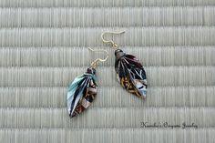 Origami Jewelry  Japanese Origami Leaf Earrings by KumikosOrigami