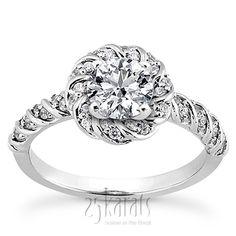 Bead Set Designer Halo Diamond Engagement Ring