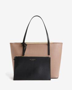 24bf7c8731bf Color block leather shopper bag - Mink