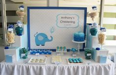 Blue elephant baby shower ideas and supplies. Photos on decorations for the dessert table, cake, backdrop etc.for a memorable blue elephant baby shower. Baby Shower Party Supplies, Baby Shower Parties, Baby Shower Themes, Baby Boy Shower, Shower Ideas, Shower Pics, Elephant Party, Elephant Theme, Elephant Baby Showers