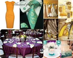 Mustard Yellow, Teal and Purple Color Palette for home decor