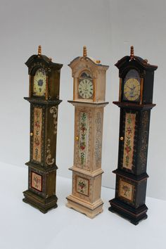 Miniature grandfather clock handpainted by Lolaminiatures on Etsy, $72.00