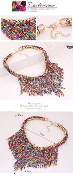 Diy Jewelry Ideas : Bohemia Multicolor Beads Decorated Weave Tassle Design Alloy Fashion Necklaces