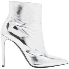 Balenciaga All Time Mirror Effect Boots (1 545 AUD) ❤ liked on Polyvore featuring shoes, boots, palladium, balenciaga, mirrored shoes, pointed toe shoes, pointed toe boots and balenciaga boots