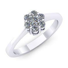 Inel logodna F51ADI INEL DE LOGODNA REALIZAT DIN AUR ALB 14K CU DIAMANTE   * Piatra principala: un diamant rotund 2.80mm ~0.08ct * Piatra secundara: diamante 6buc x 1.70mm - greutate totala: ~0.10ct Aur, Heart Ring, Jewellery, Engagement Rings, Fashion, Enagement Rings, Moda, Jewels, Wedding Rings