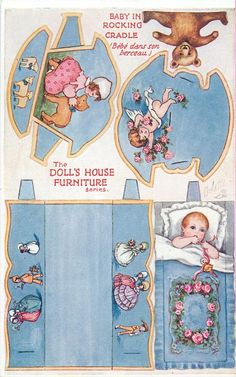 BABY IN ROCKING CRADLE- 1930 dollhouse furniture series cutout printable