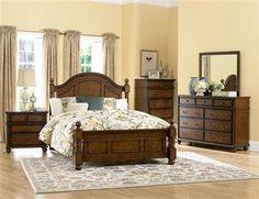 Langston Classic Brown Cherry Wood Master Bedroom Set