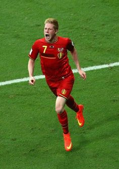 Kevin De Bruyne of Belgium celebrates after scoring his team's first goal in extra time during the 2014 FIFA World Cup Brazil Round of 16 ma...