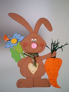 Window picture - bunny with carrot - spring- Easter decoration - cardboard! Easter Art, Easter Crafts, Crafts To Do, Crafts For Kids, Kindergarten Art Projects, Diy Ostern, Spring Theme, Happy Easter, Origami
