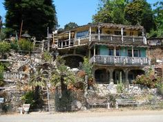 More interesting than Hearst Castle, Nit Witt Ridge is a home in the Cambria, CA . If you phone before arriving, you can arrange for a tour for approximately $10 per person. The home was put together by an eccentric man using stones, shells, odds and ends and items considered to be trash.