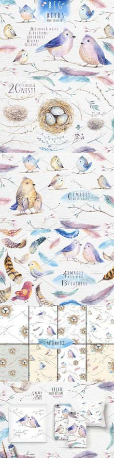 Watercolor birds and feathers. Wedding Card Templates