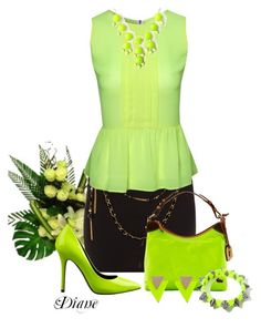 Lime by diane-shelton on Polyvore featuring polyvore fashion style Jane Norman Paprika Nine West Dooney & Bourke clothing