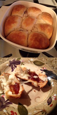 pull-apart guava and cheese rolls. pilsbury grand bisquits with (cubed) Goya guava paste and (cubed) cheese of your choice. I used Monterey Jack. bake at 350 for about 15 minutes. pull apart and enjoy! warm and deeeeeelish!