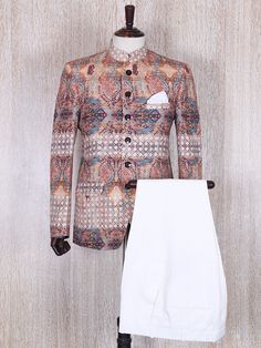 Beige Printed Terry Rayon Jodhpuri Suit For Mens Indian Wear, Mens Ethnic Wear, Indian Groom Wear, Indian Men Fashion, Mens Fashion Suits, India Fashion Men, Sherwani For Men Wedding, Wedding Dresses Men Indian, Wedding Dress Men