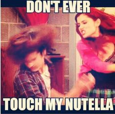 this is me to everything my chips my popcorn and especially my nutella cats and my chocolates Crazy Funny Memes, Really Funny Memes, Funny Relatable Memes, Haha Funny, Funny Jokes, Hilarious, Barbie, Ariana Grande Meme, Victorious Nickelodeon
