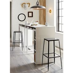 "Two tall desks/tables as a skinny kitchen island. public white 42"" high dining table 