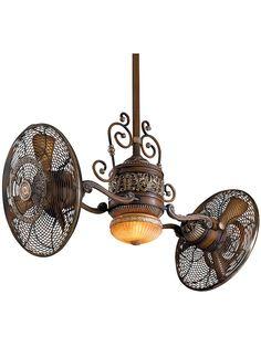 Fun to look at! Minka Aire Gyro Belcaro Walnut Ceiling Fan - Steampunk/Victorian look! Victorian Ceiling Fans, Antique Ceiling Fans, Casa Steampunk, Steampunk Theme, Steampunk Bedroom, Industrial Light Fixtures, Industrial Lighting, Industrial Style, Vintage Industrial