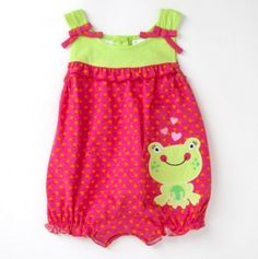 Infant Heart Romper with Frog Applique