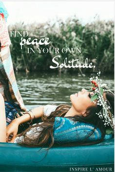 Inspirational quote about peace and finding your own solitude. Styled with our Boho fashion pieces.