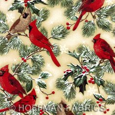 Cardinal Christmas Bird Fabic by Hoffman Serenade birds 2733   I love this fabric for Christmas.. now I just wish I knew what to make with it!