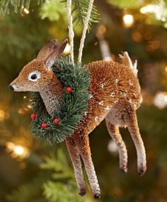 Pottery Barn Bottle Brush Deer with Wreath Christmas Ornament-Reindeer-New #PotteryBarn