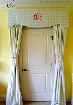 Katherine's big girl room Different fabric, but good idea to cover closet area.-give the feel of a secret door!