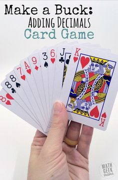 This super simple adding decimals game will give your kids lots of practice with adding decimals, as well as developing their problem solving and mental math skills. Plus, you'll love how easy it is to set up: all you need is a deck of cards! Easy Math Games, Math Card Games, Card Games For Kids, Math For Kids, Math Activities, Abc Games, Math Enrichment, Fraction Activities, Therapy Activities