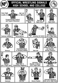 Wrestling Referee Signals - wish I has this a few years ago! I'll be a pro by the time AJ's in high school!!