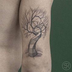 Geometric Tree Tattoo by svenrayen