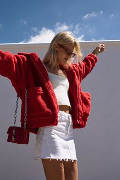 Georgia Wears: Chosen Crepe Knit Tank Top Ivory, GRLFRND Eva Mini Skirt Porto, I.AM.GIA Pixie Jacket Red, Alexander Wang Hook Cross Body Bag Red