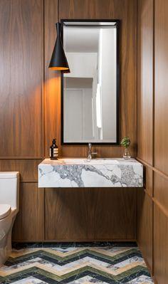 Paris Forino Walnut paneled powder room in Long island city NY Bad Inspiration, Bathroom Inspiration, Cool Light Fixtures, Modern Powder Rooms, Powder Room Design, Lavatory Faucet, Bathroom Interior Design, Small Bathroom, White Bathrooms