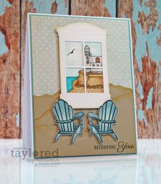 Beach window Card by Wanda Guess #Cardmaking, #Summerfun