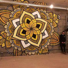 Soo so happy!☺️We just finished this giant mandala mural for the 11th moreyoga_ studio at Lewisham! (open from:1st Jan) @loiredesigns @phlox_illustrations #mural #yoga #mandala #walldecor #lovethisjob